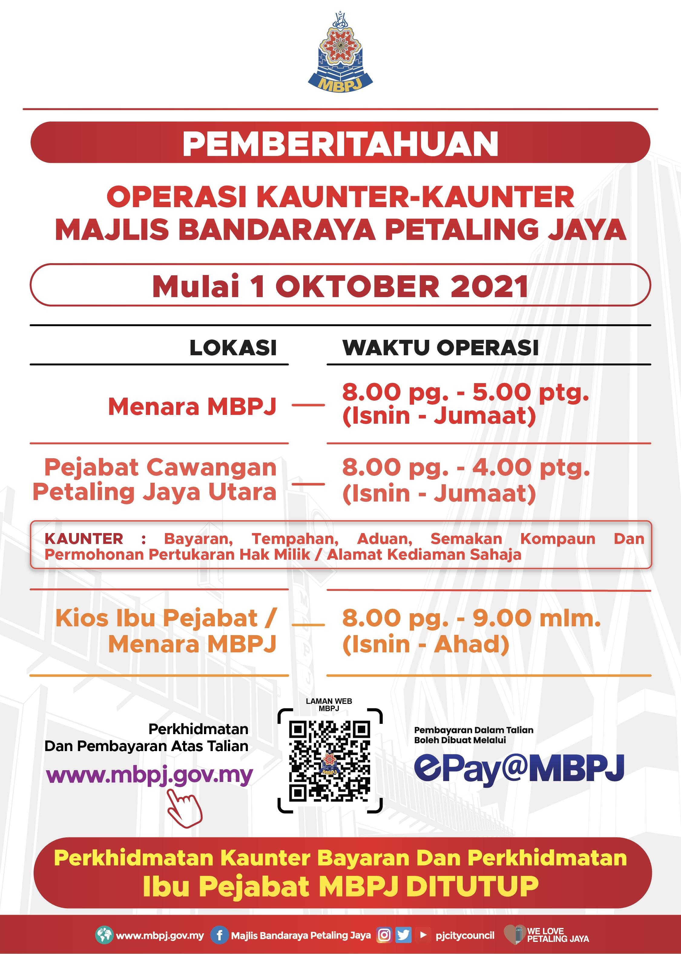 Jadual Kaunter MBPJ Okt 2021