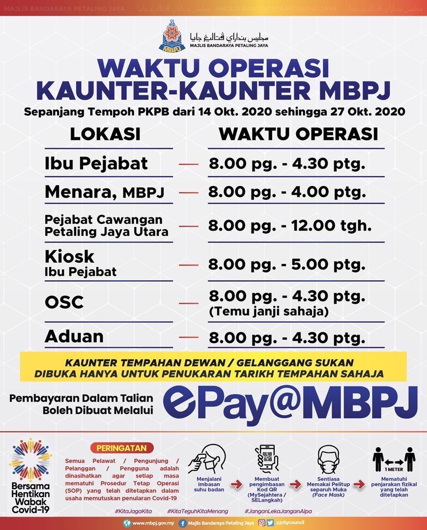 Jadual Kaunter MBPJ Sepanjang PKPB