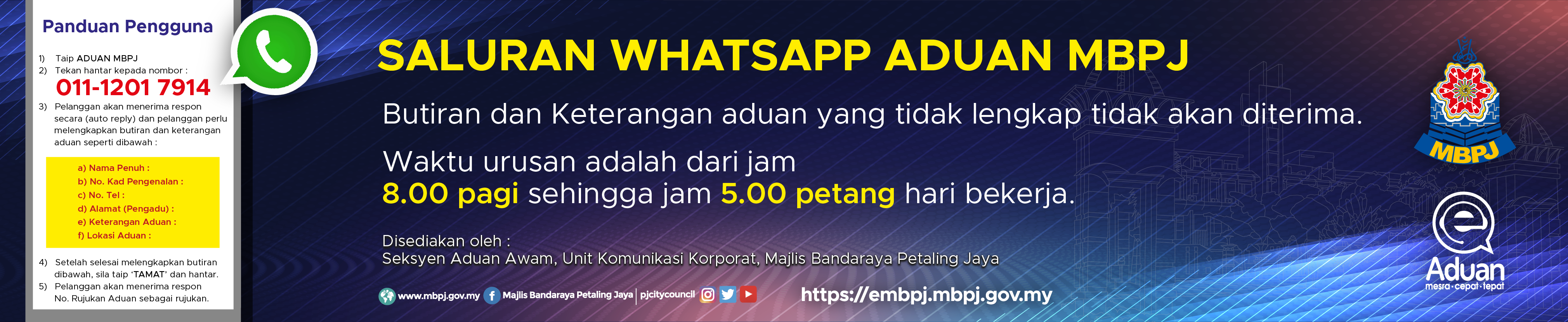 Banner Aduan Melalui Whatsapp